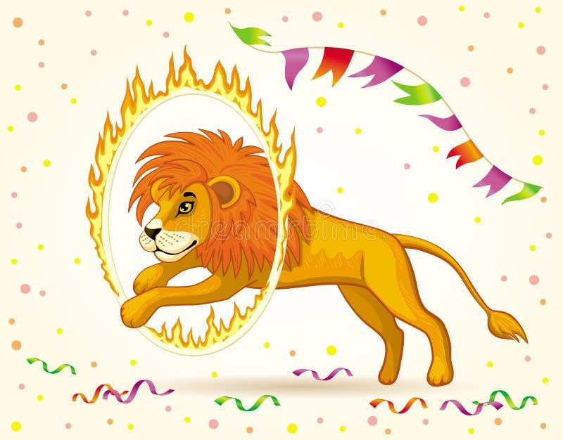 Beeld van een circusleeuw die door een brandende Hoepel springen stock illustratie