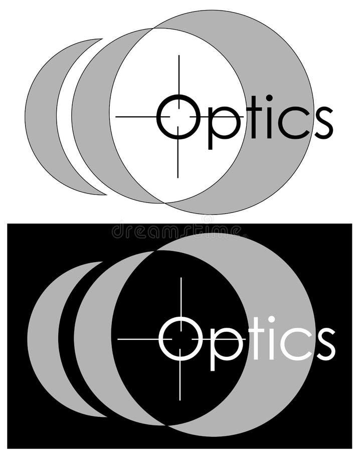 Beeld van een lens, een gezicht met de inschrijving van een opticien, een opticaopslag, een minimalistisch embleem vector illustratie
