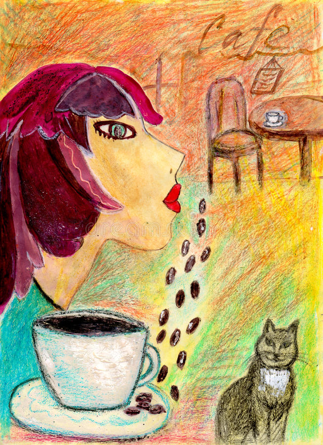 Beeld van een meisje die in een koffie dromen royalty-vrije stock afbeeldingen