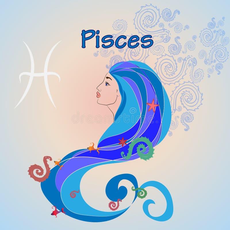 Beeld van een meisje met kleurrijke algen en vissen in haar haar stock illustratie
