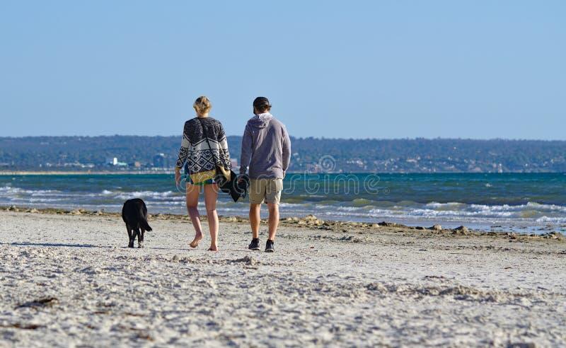 Beeld van een paar die met hun hond bij het strand lopen royalty-vrije stock afbeelding