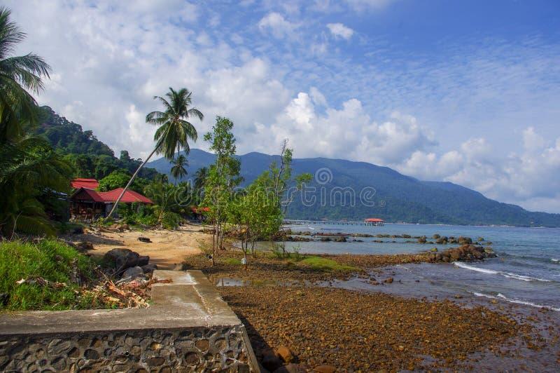 Beeld van een paradijs, het strand van Pulau Tioman stock afbeelding