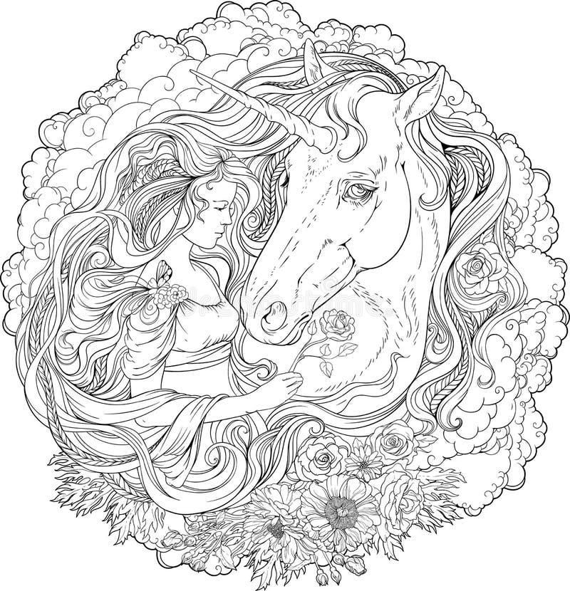 Beeld van eenhoorn en meisje in wolken stock illustratie