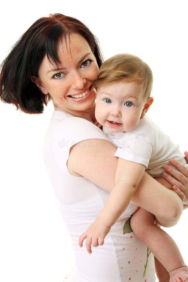 Beeld van gelukkige moeder met baby royalty-vrije stock foto's