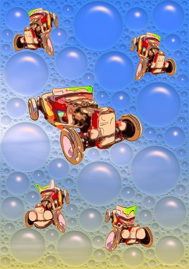 Beeld van grappige rode antieke cabriolet in blauwe bellen vector illustratie