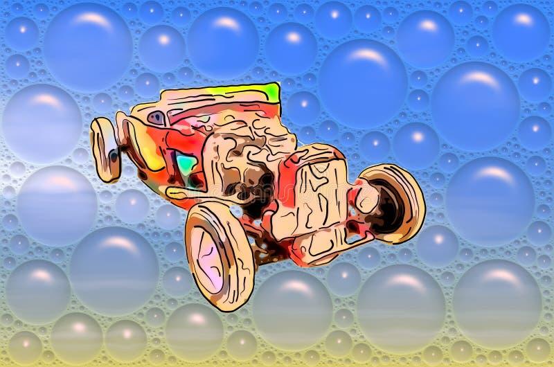 Beeld van grappige rode antieke cabriolet in blauwe bellen stock illustratie