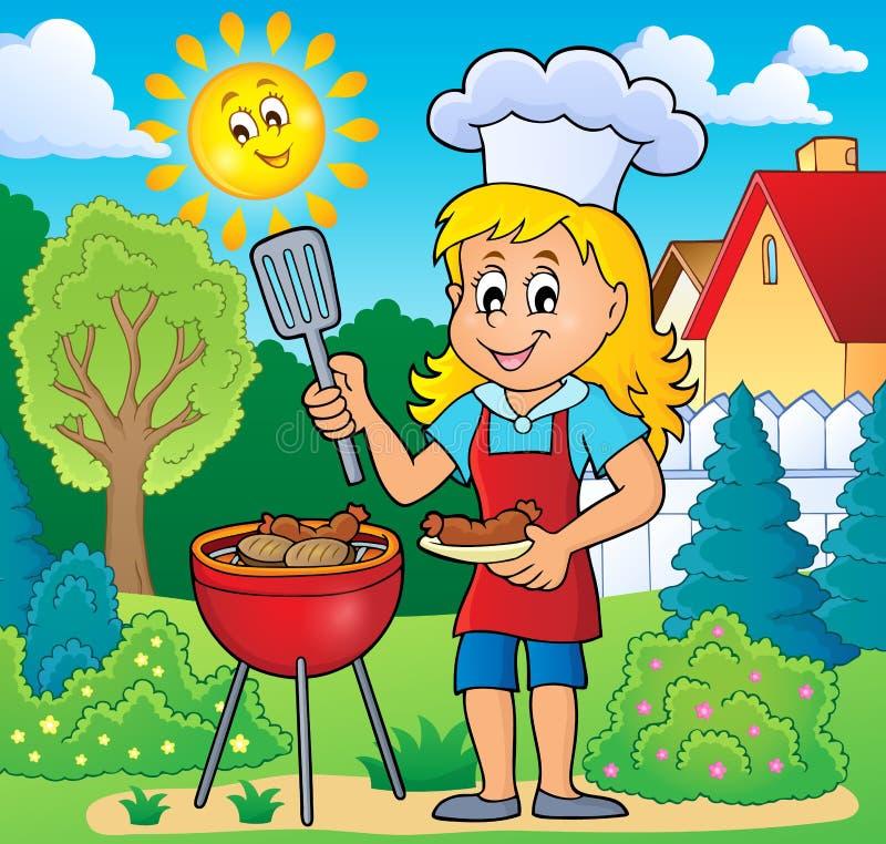 Beeld 5 van het barbecuethema royalty-vrije illustratie