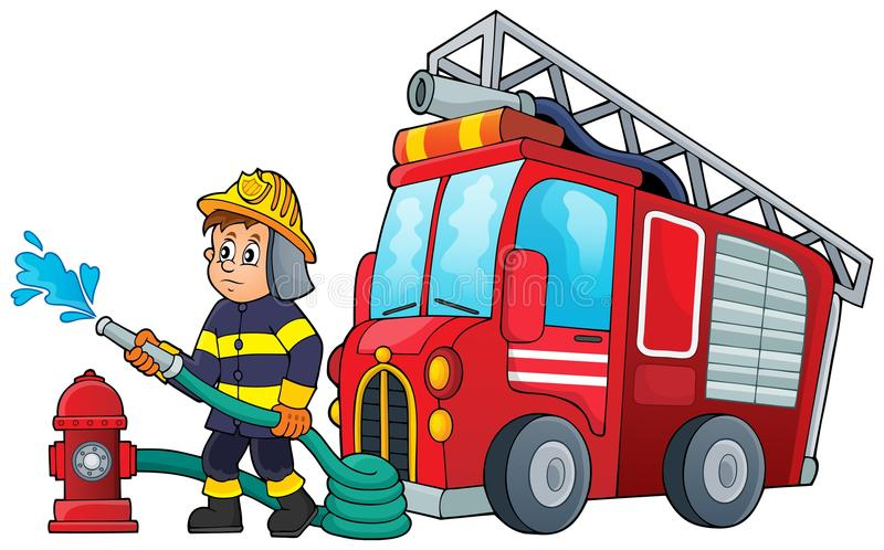 Beeld 3 van het brandbestrijdersthema stock illustratie