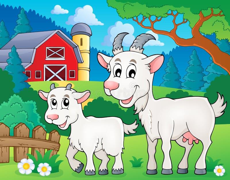 Beeld 2 van het geitthema stock illustratie