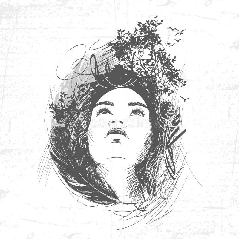 Beeld van het gezicht van het meisje in veren, bomen en vogels wordt ontworpen die royalty-vrije illustratie