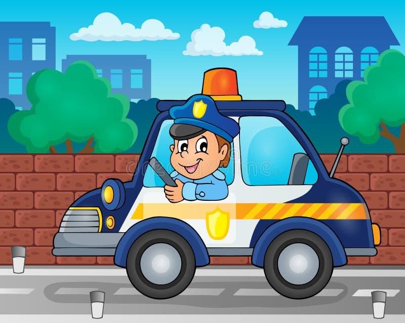 Beeld 2 van het politiewagenthema vector illustratie