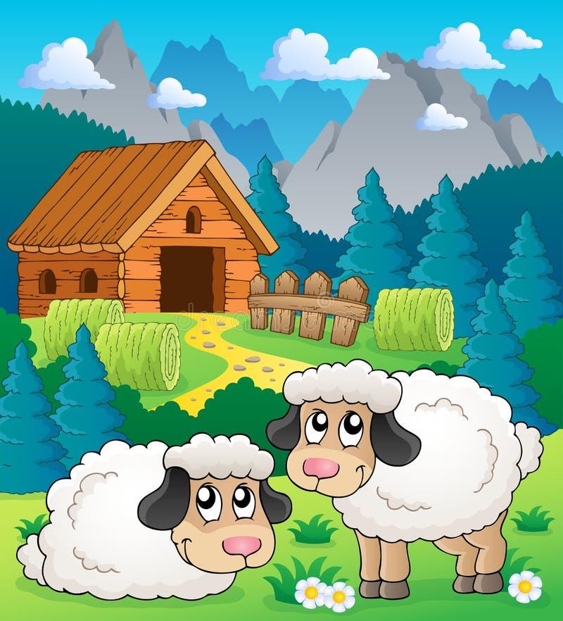 Beeld 2 van het schapenthema stock illustratie