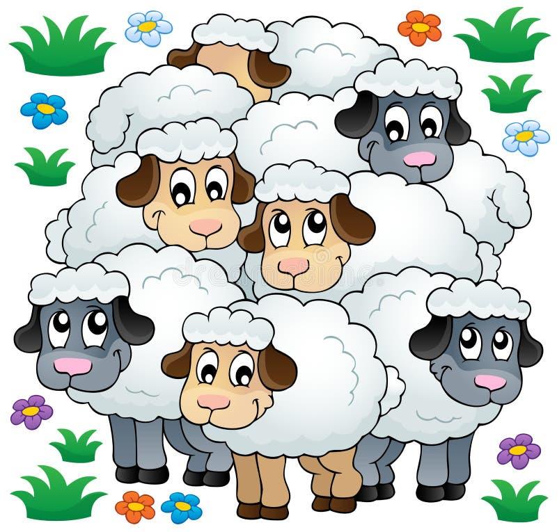 Beeld 3 van het schapenthema vector illustratie