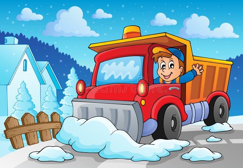 Beeld 2 van het sneeuwploegthema stock illustratie