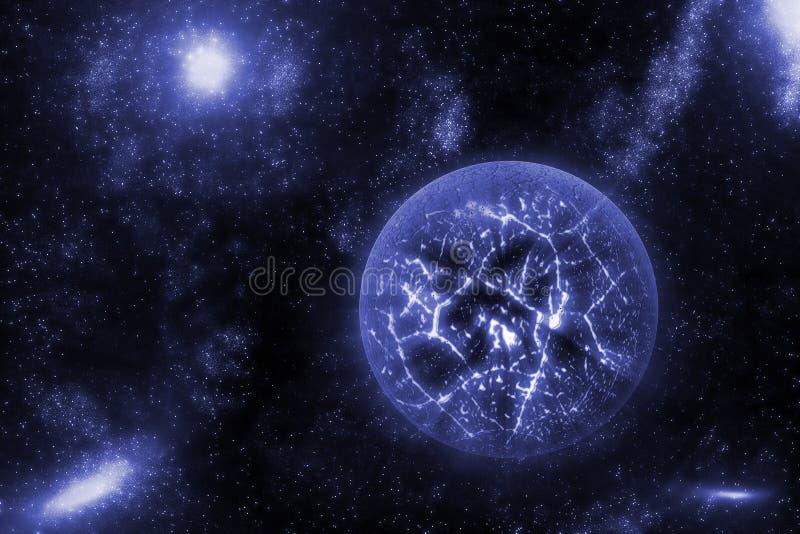 Beeld van het verpletteren, exploderende planeet in diepe ruimte, heelal met de achtergrond van het stergebied Computer geproduce vector illustratie