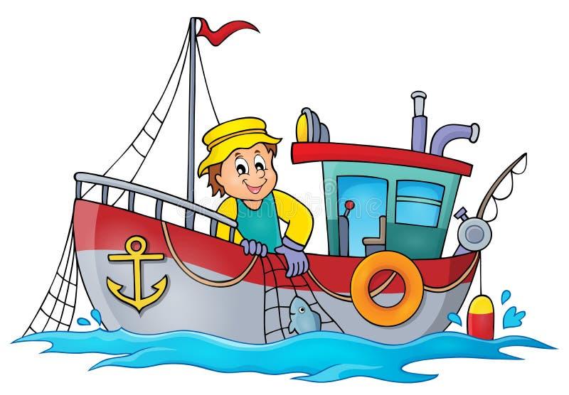 Beeld 1 van het vissersbootthema stock illustratie