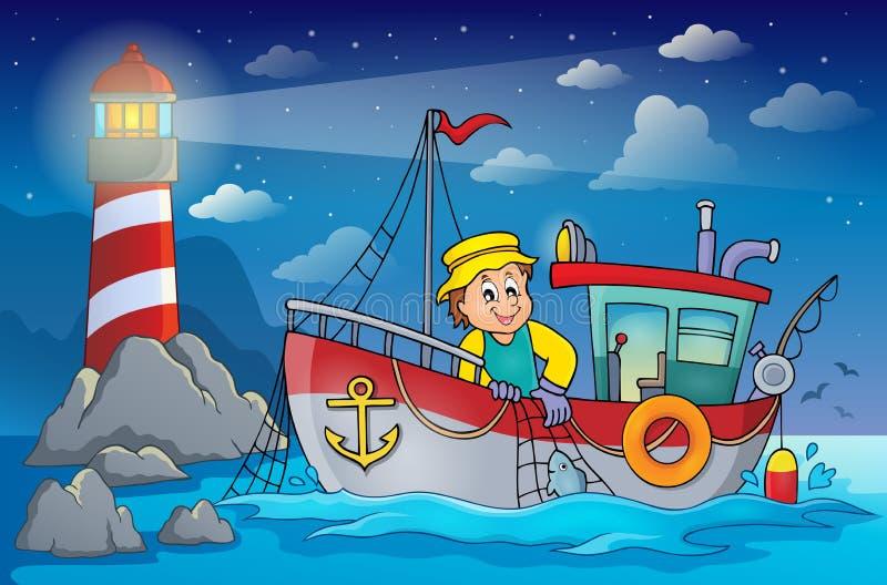 Beeld 4 van het vissersbootthema vector illustratie