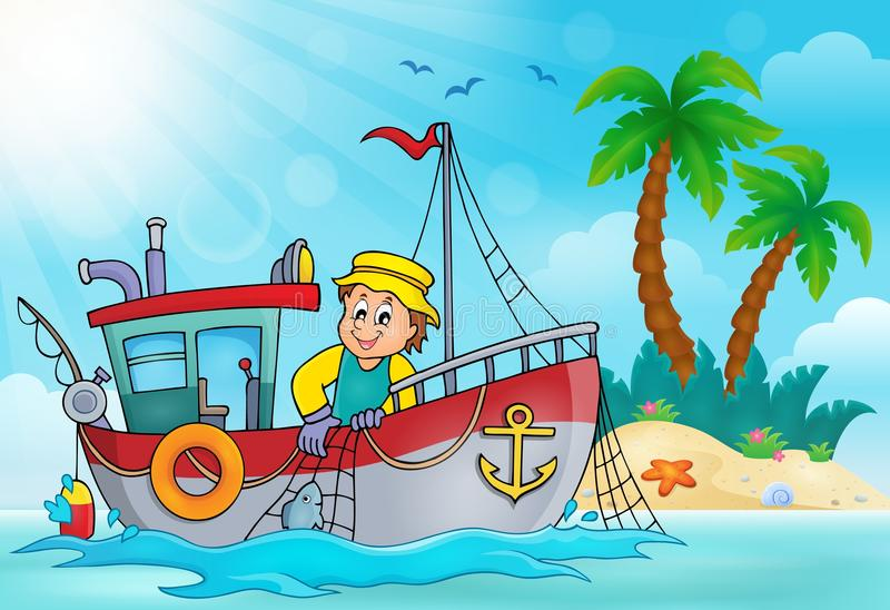 Beeld 5 van het vissersbootthema royalty-vrije illustratie