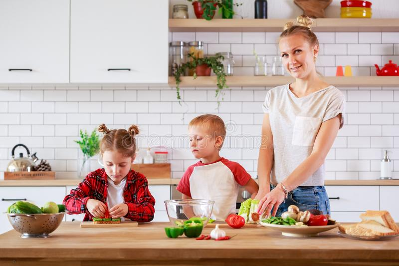 Beeld van jonge moeder met dochter en zoons scherpe groenten bij lijst stock foto