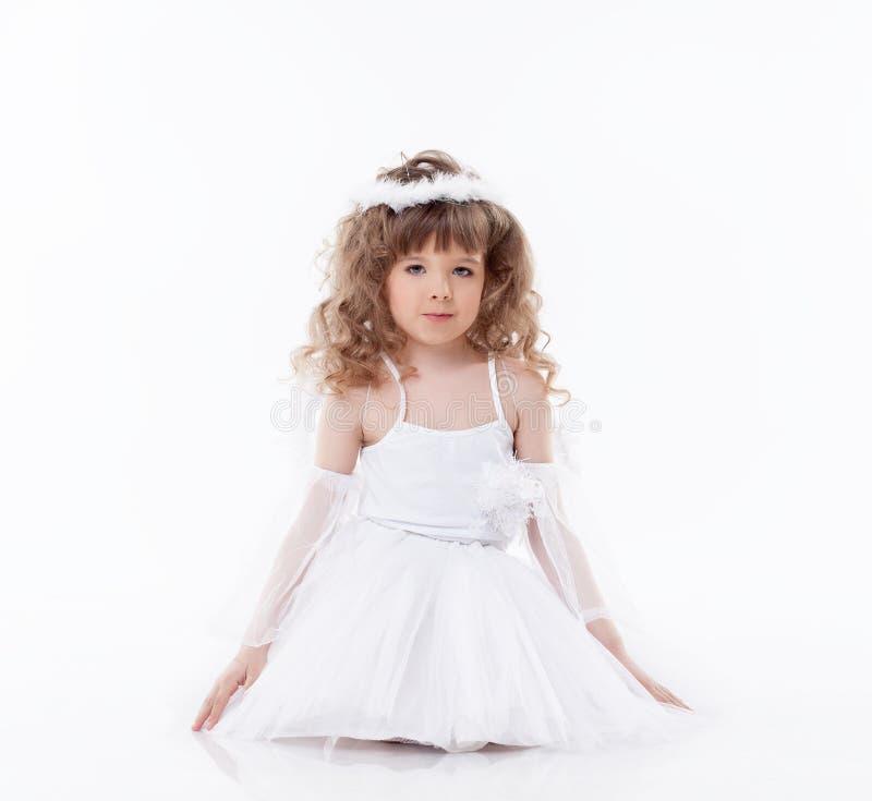 Beeld van leuk weinig engel op wit royalty-vrije stock afbeeldingen