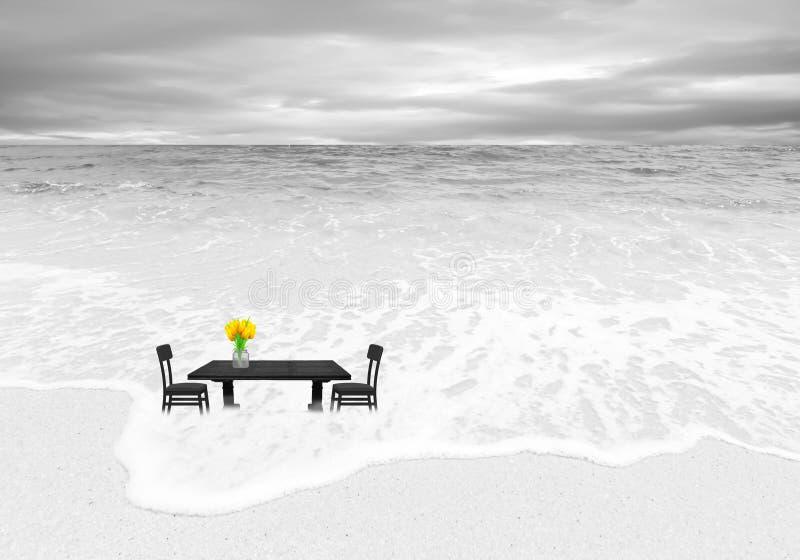 Beeld van lijst en stoelen op een strand royalty-vrije illustratie