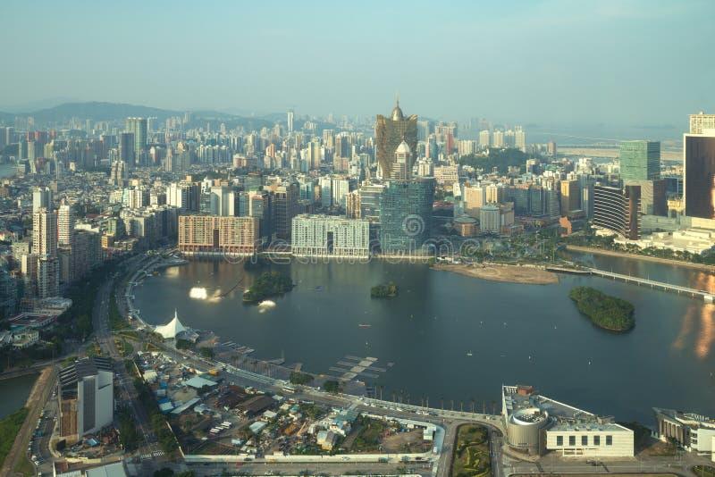 Beeld van Macao Macao, China Wolkenkrabberhotel en de casinobouw bij de stad in in Macao Macao royalty-vrije stock foto's