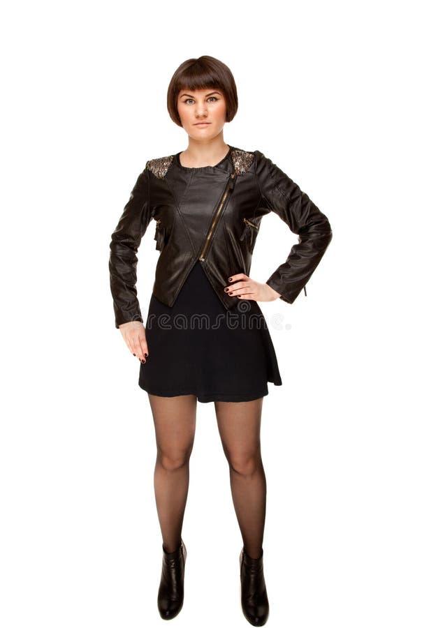 Beeld van modieuze vrouw in zwarte stock foto's