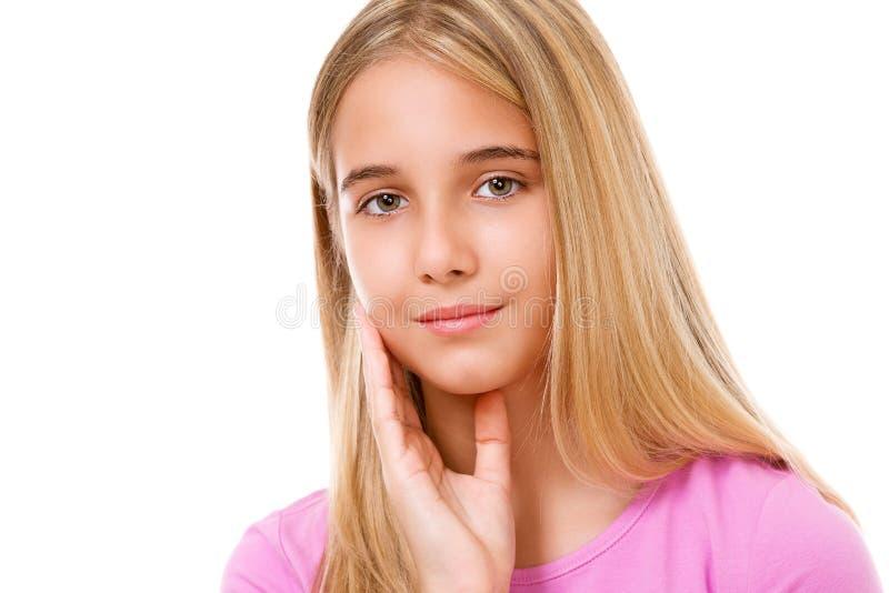 Beeld van mooi jong meisje Geïsoleerde stock afbeeldingen