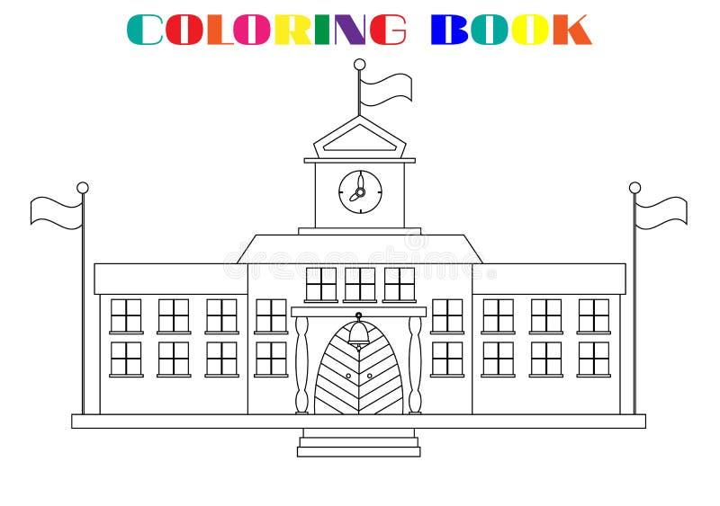 Beeld van schoolgebouwen - kleurend boek royalty-vrije illustratie