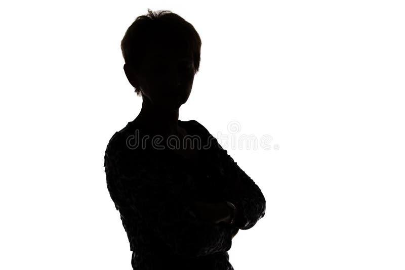 Beeld van silhouet volwassen vrouw stock foto