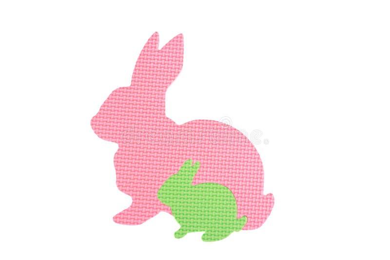 Beeld van stuk speelgoed konijnen, op witte achtergrond wordt geïsoleerd die royalty-vrije stock foto's