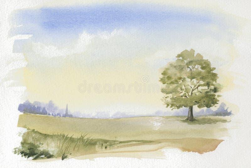 Beeld van typisch Engels Platteland Watercolour