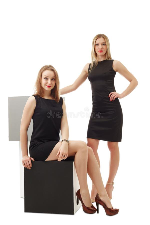 Beeld van verleidelijke bedrijfsdievrouwen op wit worden geïsoleerd stock afbeelding