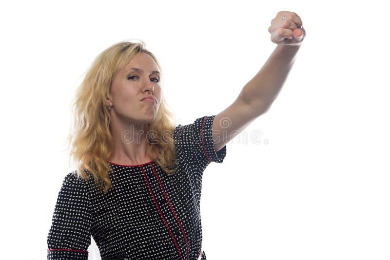 Beeld van vrouw met blond omhoog haar, hand royalty-vrije stock afbeeldingen