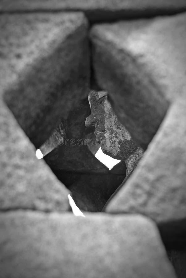 Beeld van zitting Boedha in Borobudur-Tempel, Jogjakarta, Indonesië royalty-vrije stock afbeelding
