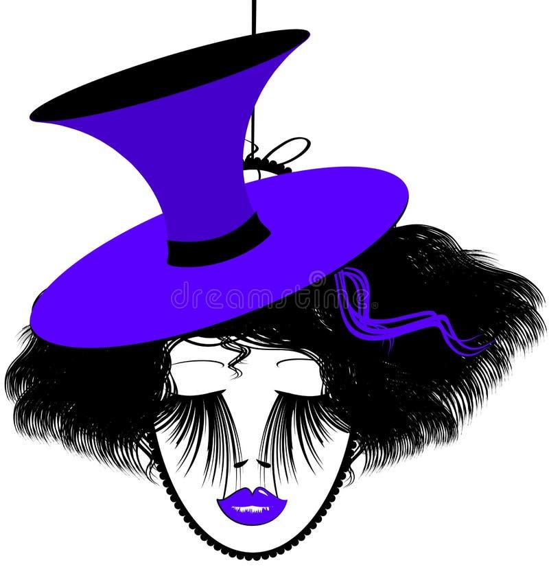 Beeld van zwart-purpledame royalty-vrije illustratie