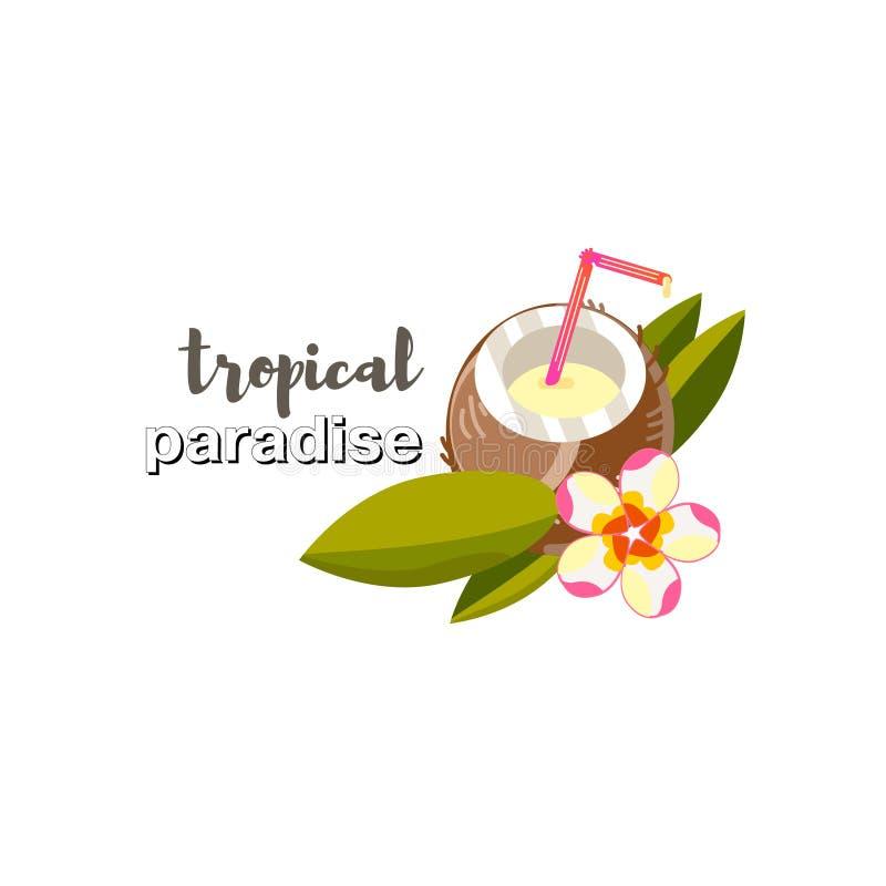 Beeld in vector Kokosnotensap Tropische Bladeren Vlak volledig kleurenontwerp tropische bloem royalty-vrije illustratie