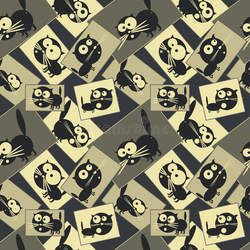 Beelden met katten Naadloos patroon Vector vector illustratie