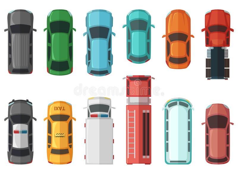 Beelden van vervoers hoogste mening Auto's die op witte achtergrond worden geïsoleerd Vectorstadsmodellen vector illustratie