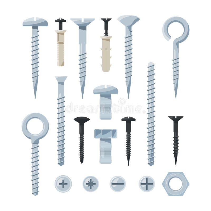 Beeldenreeks hardwarehulpmiddelen Ijzerbouten, noten, spijkers en schroeven stock illustratie