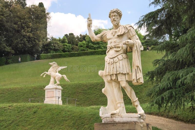 Beeldhouwwerk in de Boboli-tuinen Florence, Italië royalty-vrije stock foto