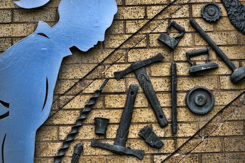Beeldhouwwerk die de industrieën in Burnley Lancashire vieren stock foto