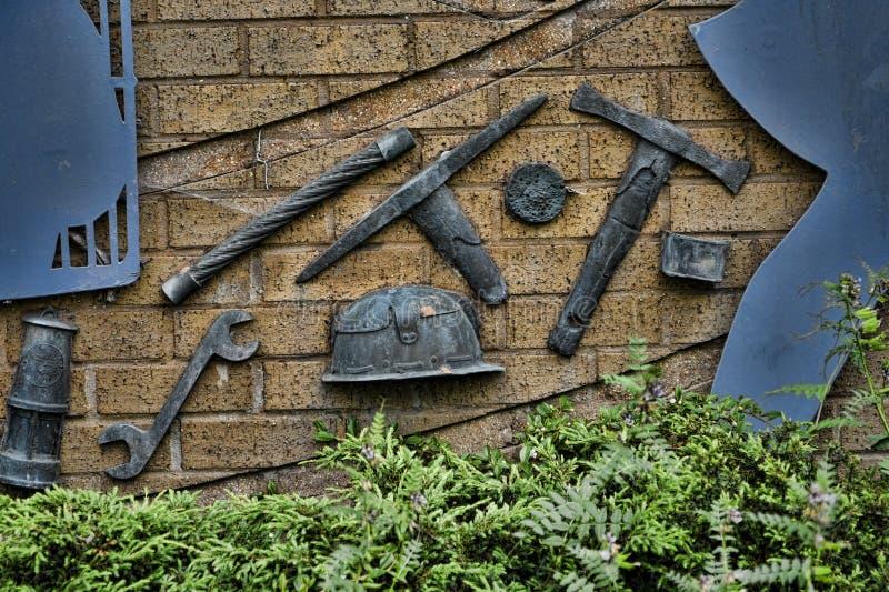 Beeldhouwwerk die de industrieën in Burnley Lancashire vieren stock foto's