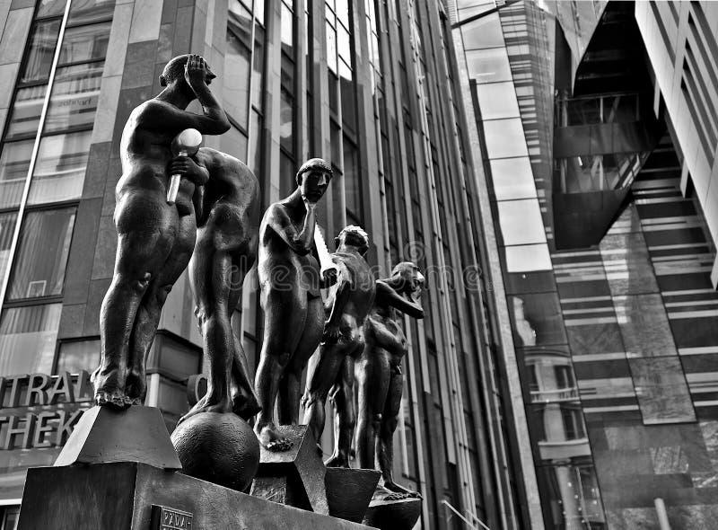 Beeldhouwwerk in Leipzig de stad in royalty-vrije stock afbeeldingen