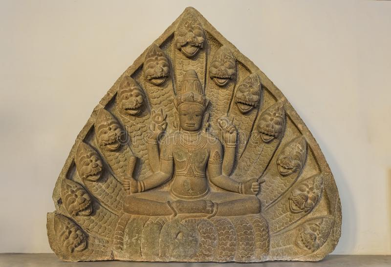 Beeldhouwwerk van dan Vishnu in het Museum van Da Nangcham stock afbeelding