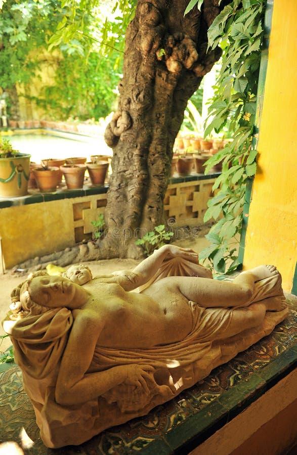 Beeldhouwwerk van een vrouw in het Paleis van Casa DE Pilatos, Sevilla, Spanje stock foto's