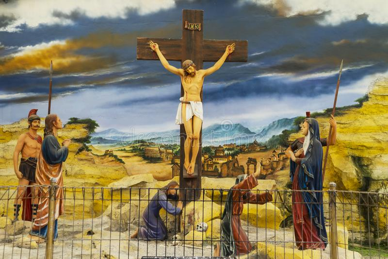 Beeldhouwwerk van gekruisigd Jesus Christ royalty-vrije stock foto's