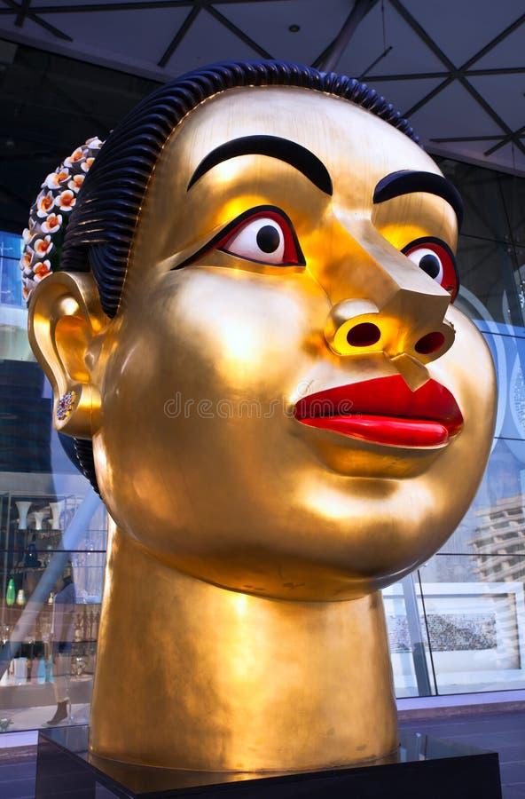 Beeldhouwwerk van het hoofd van de Indische vrouw royalty-vrije stock afbeelding