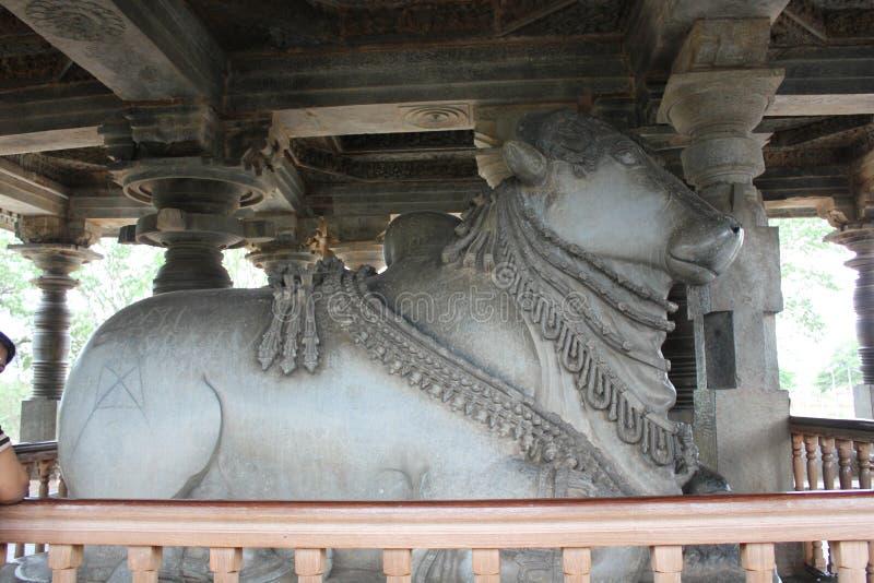 Beeldhouwwerk van Nandi van de Hoysaleswaratempel het 6de Grootste Monolithisch in India stock fotografie