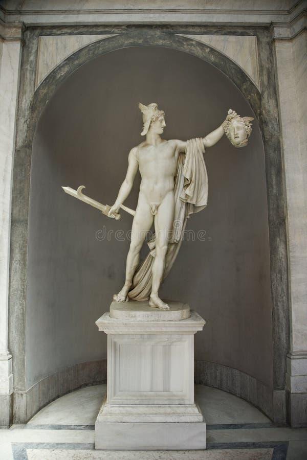 Beeldhouwwerk van Perseus en Kwal. stock afbeeldingen